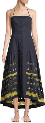 Tanya Taylor Renee Halter Button-Down Linen-Blend Dress w/ Graphic Eyelet-Hem