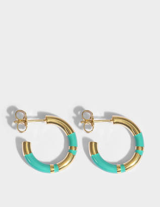 Aurelie Bidermann Positano Mini Hoop Earrings in Emerald 18K Gold-Plated Brass