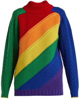 Burberry Color-block wool and cashmere-blend sweater