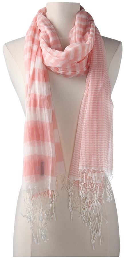 Hat Attack Stripe Scarf W/Fringe (Pink) - Accessories