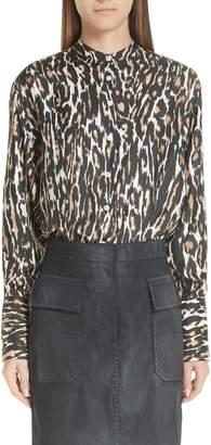 Calvin Klein Leopard Print Silk Twill Blouse