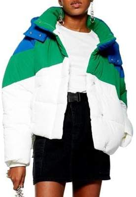 Topshop Colourblock Puffer Jacket
