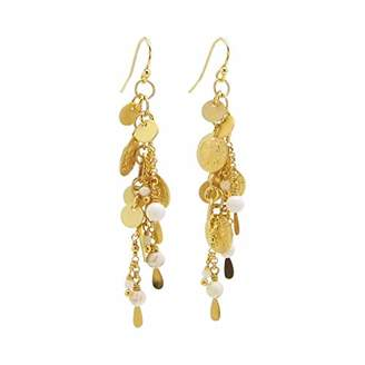 Chan Luu Dangle Earrings with Coin Charms in White Magnesite and Gold