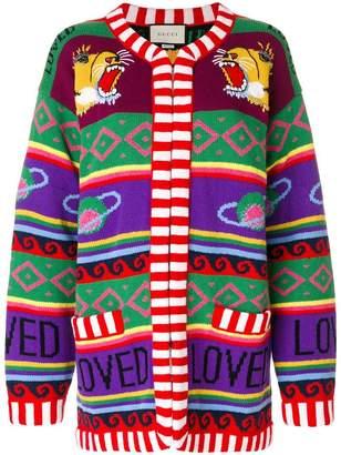 Gucci tiger intarsia knit cardigan