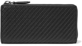 Ermenegildo Zegna Pelle Tessuta Leather Zip-around Wallet - Black