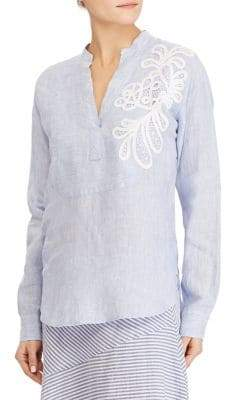 Lauren Ralph Lauren Petite Embroidered Linen Shirt
