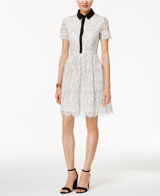 Tommy Hilfiger Collared Lace Fit & Flare Dress $149 thestylecure.com