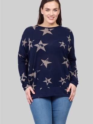 M&Co Izabel Curve star print longline jumper