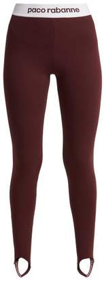 Paco Rabanne Bodyline Logo Jacquard Stirrup Leggings - Womens - Burgundy