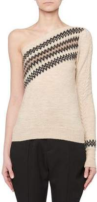 Isabel Marant One-Shoulder Wild West Intarsia Wool-Blend Sweater