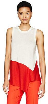 Anne Klein Women's Asymmetrical Color Block Top