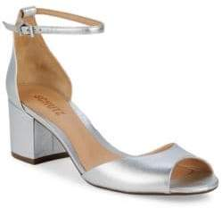 Schutz Metallic Leather Ankle-Strap Sandals