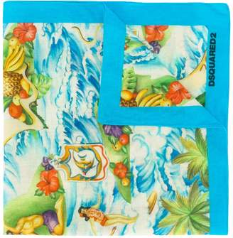 DSQUARED2 Hawaii print scarf