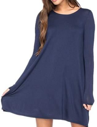 TimNas Women's Long Sleeve Casual Loose Cotton T-shirt Dress