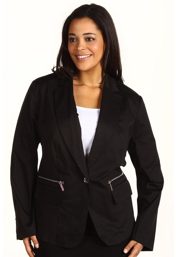 MICHAEL Michael Kors Plus Size Washed Twill One Button Blazer (Black) - Apparel