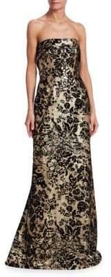 Rubin Singer Strapless Velvet& Sequin Jacquard Gown