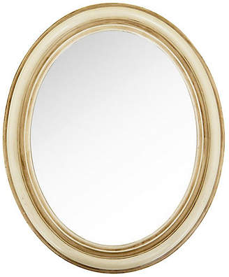 One Kings Lane Vintage Small Ivory Antiqued Oval Mirror - Janney's Collection