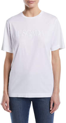 Escada Crewneck Short-Sleeve Cotton Tee w/ Tonal Embroidered Logo