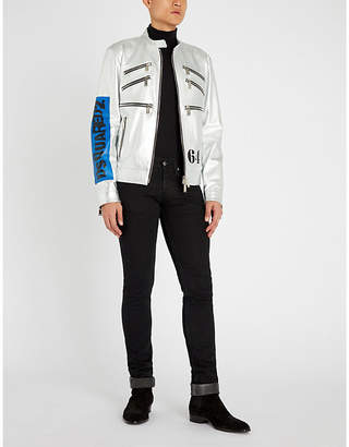 DSQUARED2 Zip detail metallic leather biker jacket