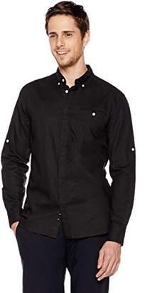 Isle Bay Linens Men's Standard-Fit Long-Sleeve Hidden Placket Woven Shirt