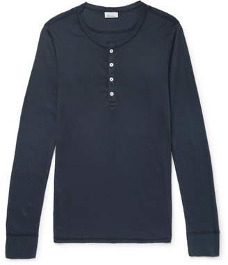 Schiesser Slim-Fit Ribbed Cotton-Jersey Henley T-Shirt