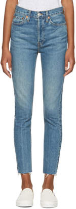 RE/DONE Blue Originals High-Rise Ankle Crop Stretch Jeans