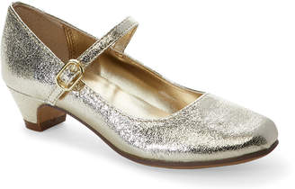 Nina Kids Girls) Gold Crackled Low-Heel Mary Jane Shoes
