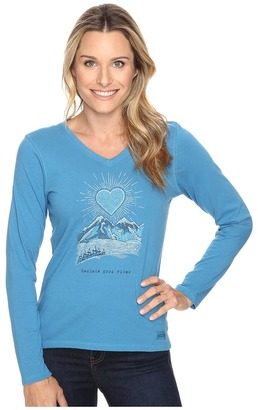 Life is good Radiant Good Vibes Heart Mountain Long Sleeve Crusher Vee $30 thestylecure.com