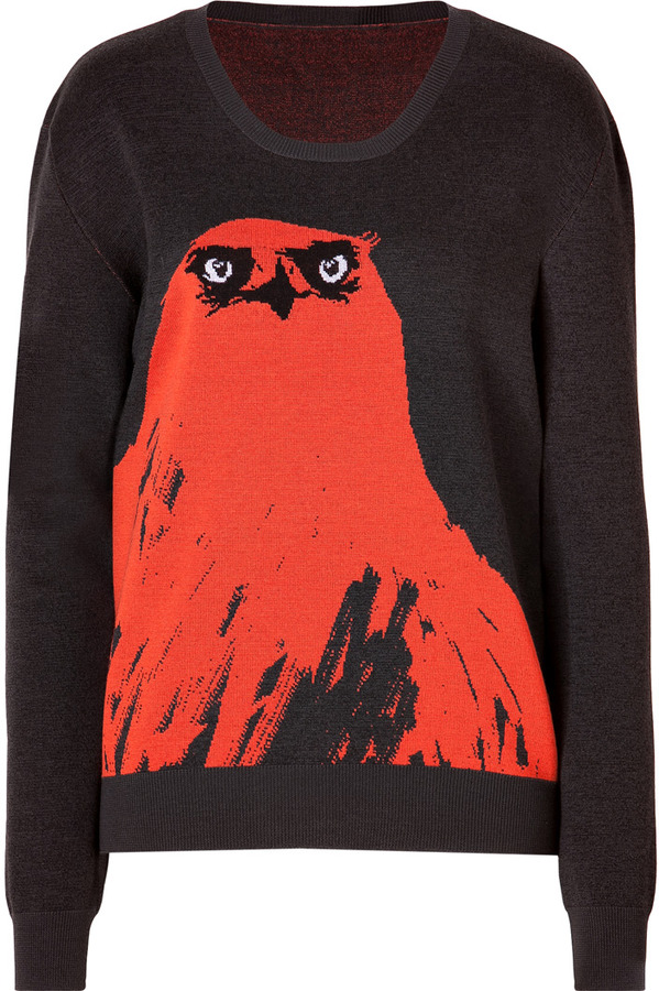 McQ Wool Blend Angry Eagle Pullover in Tangerine/Grey
