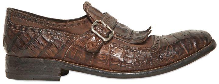 Washed Croc Side Monk Strap Shoes