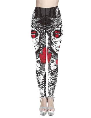a05c9160cb8 SOMTHRON Women s Skeleton Skull Leggings Trousers Skinny Skull Yoga Pants  Plus Size(BL-XL