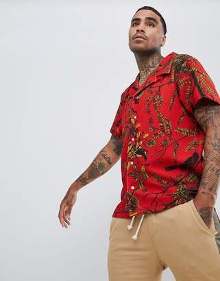 Profound Aesthetic short sleeve revere collar shirt with bird print in red