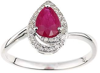N. Naava Women's 9 ct White Gold Diamond and Ruby Teardrop Ring, Size - O