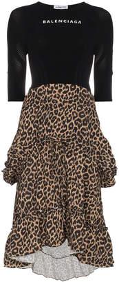 Balenciaga Athletic Top leopard print ruffle dress