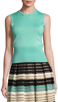 Lela Rose Classic Sleeveless Shell, Light Green