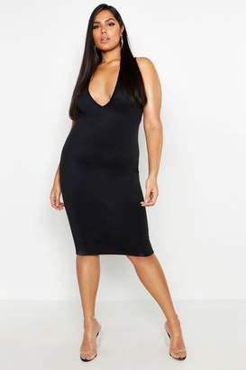 boohoo Plus Plunge Bodycon Midi Dress