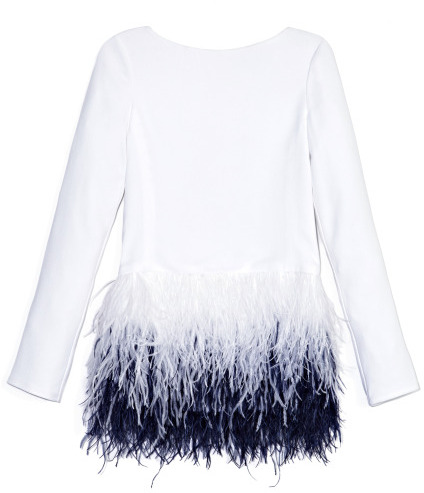 Prabal Gurung Preorder Long Sleeve Blouse With Cascading Ostrich Feather Embroidery