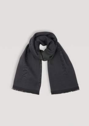 Emporio Armani Pure Wool Scarf With Jacquard Logo