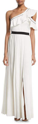 Self-Portrait Pleated One-Shoulder Maxi Cocktail Dress
