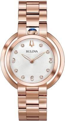 Bulova Rubaiyat Collection Rose Goldtone Stainless Steel Link Bracelet Watch
