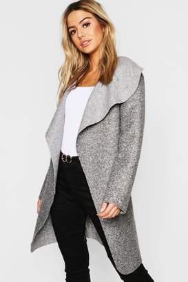 boohoo Petite Belted Shawl Collar Teddy Coat