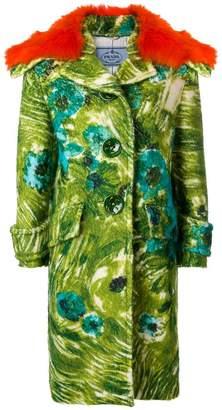 Prada floral printed coat