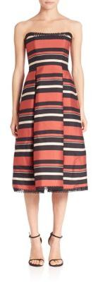 NICHOLAS Striped Strapless Dress $595 thestylecure.com