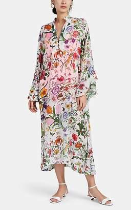 La Vie Style House Women's Floral Silk Chiffon Maxi Caftan - White Multi Flrl