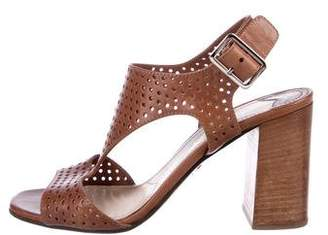 Prada Perforated Ankle Strap Sandals