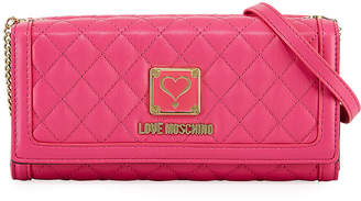 Love Moschino Quilted Napa Faux-Leather Wallet on Crossbody Strap