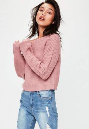 Missguided Pink Off Shoulder Cropped Knit Sweater