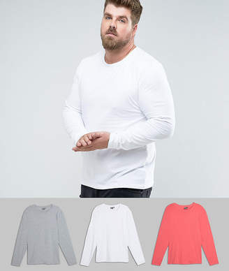 Asos DESIGN PLUS Muscle Fit Long Sleeve T-Shirt 3 Pack SAVE