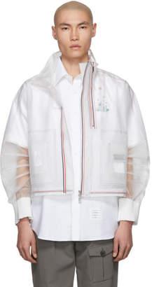 Thom Browne Transparent Stripe Articulated Funnel Neck Jacket