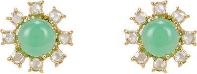 Irene Neuwirth Rainbow Moonstone, Diamond & Gold Floral Studs